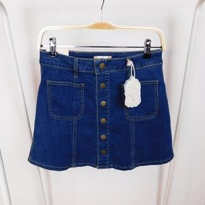 NWT Altar'd State Denim Button Front Mini Skirt